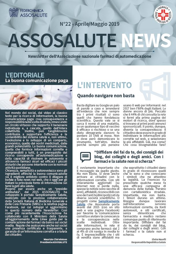 Newsletter ASSOSALUTE- Aprile-Maggio 2019
