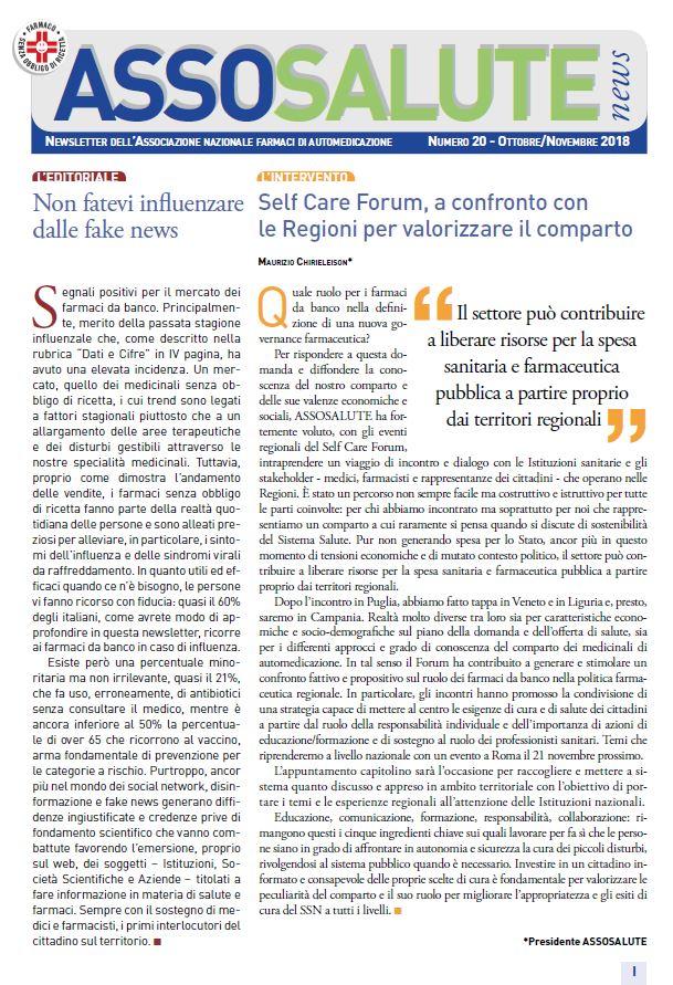 Newsletter ASSOSALUTE - Ottobre/Novembre 2018