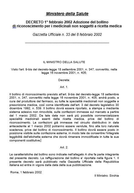 Decreto Ministero Salute 1° febbraio 2002