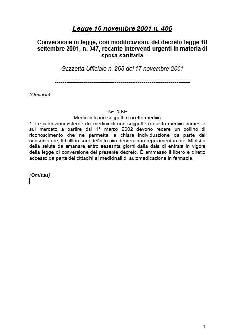 Legge 16 novembre 2001, n. 405