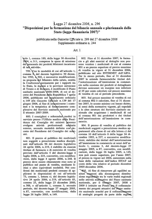 Legge 27 dicembre 2006, n. 296